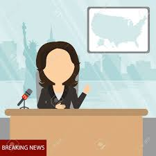 Breaking News On Tv Female Reporter With Microphone Sitting At The Table Latest