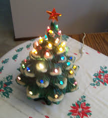 Green Ceramic Christmas Tree Lights 2017 Vintage Lighted Hand Painted