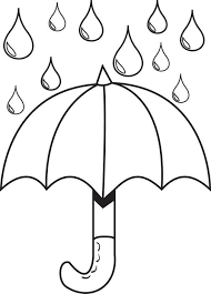Printable Coloring Page For Kids Of An Umbrella With Raindrops
