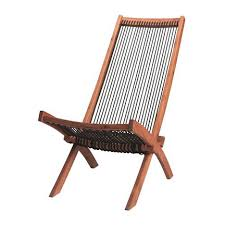 Ikea Deck Chair Acacia Wood String Twine Rope Mid Century Modern Outdoor Furniture