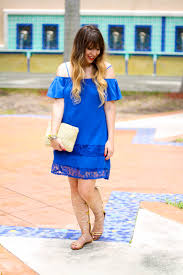 f The Shoulder Blue Dress & Gold Gladiators • a Sparkle Factor