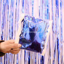 metallic blue foil fringed curtain backdrop for photo booth foil