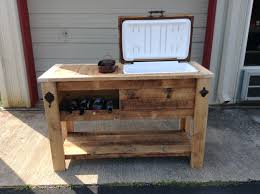 barn wood cooler table with wine chill bucket and notched storage