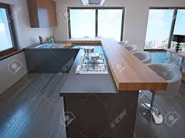 avantgarde küche insel bar mit hellem holz arbeitsplatte weiß barhockern l förmige küche interieur 3d übertragen