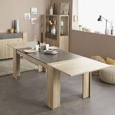 table à manger couleur chêne clair et effet béton moderne kouak
