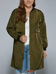 plus size zip up patched ruffled trench coat army green xl in