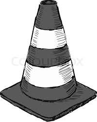Hand drawn sketch illustration of traffic cone vector