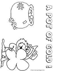 St Patricks Day Coloring Pages Leprechaun And Pot Of Gold