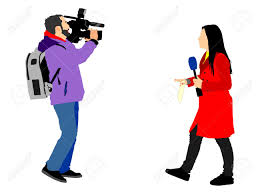 Journalist News Reporter Interview With Camera Crew Vector Illustration Isolated On White Background Stock