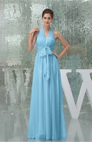 light blue evening dress plain a line halter sleeveless backless