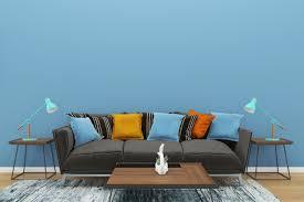 blaue wand grau sofa kopie raum interieur wohnzimmer le