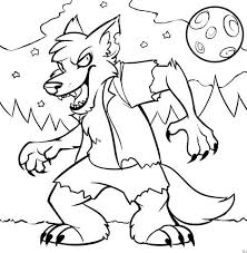 Monster Halloween Wolf Coloring Pages Print