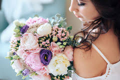 Bride Holding A Bouquet Of Flowers In Rustic Style Wedding Stock Photography