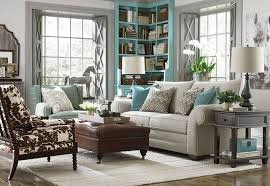 Elegant Traditional Living Room Firniture Design Of Corner Teal Bookshelf And Grey Fabric Loveseat Also