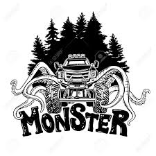 100 Monster Truck Tattoos Vector With Tentacles Of The Mollusk And Forest