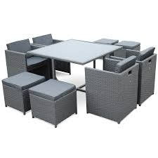 tables de jardin en resine salon de jardin résine tressée 4 à 8 places vasto