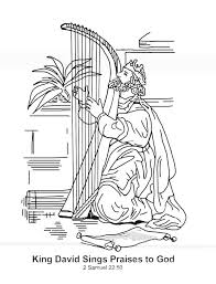 King David Sings Praises To God In The Story Of Saul Coloring Page