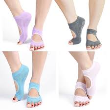 Koyama Pack Of 6 Colors Half Toe Yoga Dance Pilates Gym Socks Separator Non Slip Skid With Grips For