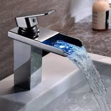 Touchless Bathroom Faucet Brushed Nickel by Single Hole Touchless Electronic Bathroom Sink Waterfall Faucet In