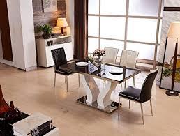 de schwarz kariert braun glastisch mit 6 stühle