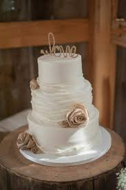 Rustic Barn Wedding Cake With Burlap