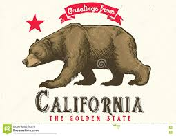 Greeting From California With Brown Bear Royalty Free Vector