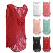 new ladies bow back chiffon top lace insert vest women hilo cami