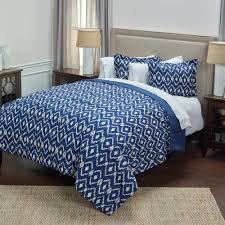 King Bed Comforters by Rizzy Home Natural Blue Ikat Pattern 3 Piece King Bed Set