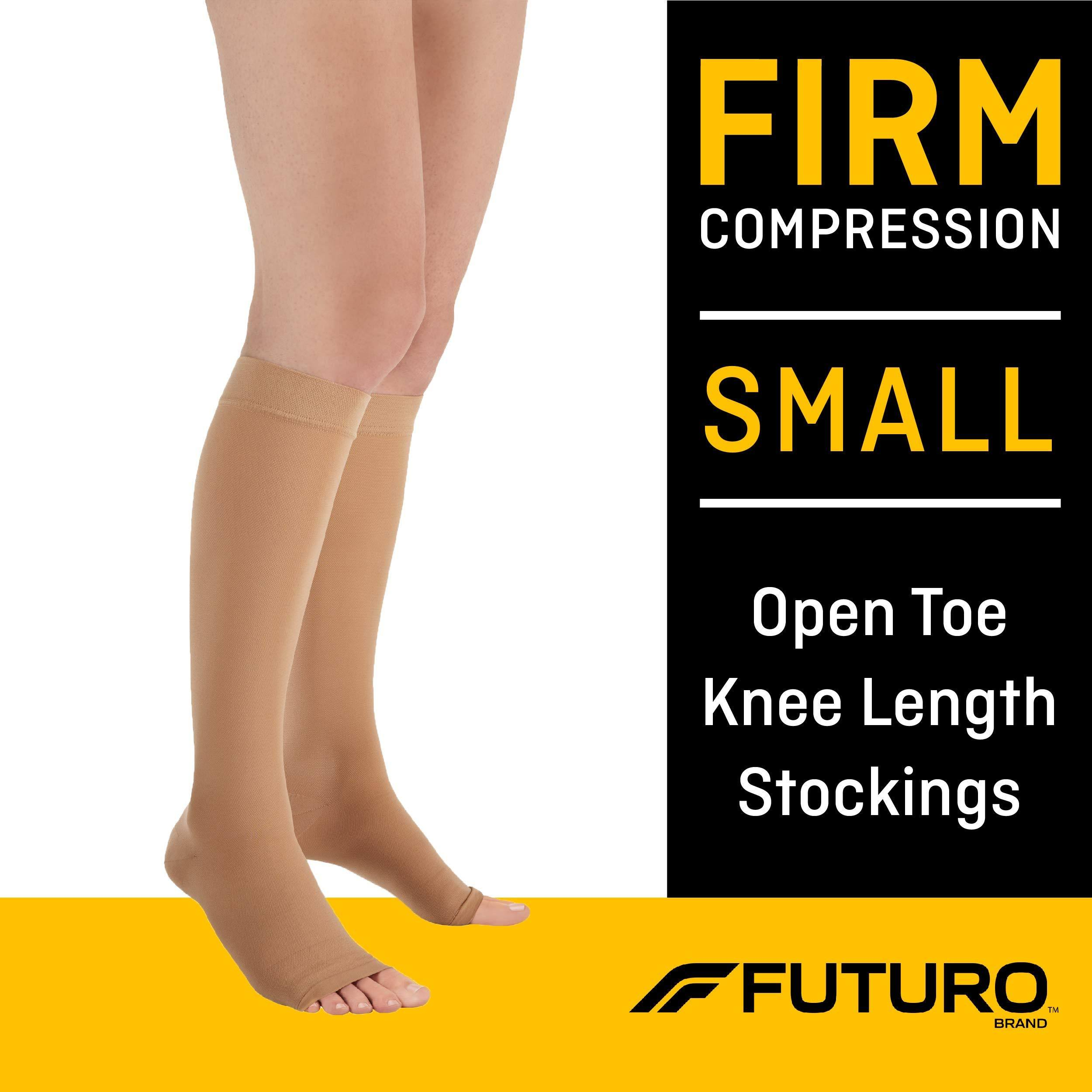 Futuro Knee Length Stockings Open Toe Firm Small Beige 1 Pair