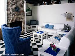 Living Room With Fireplace by Room With Fireplace And Blue White Sofa Set Design And Wall Design