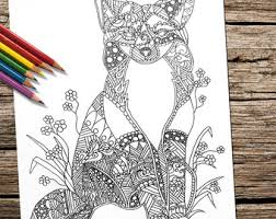 Printable Coloring Pages Adult Book For Adults Fox Animal
