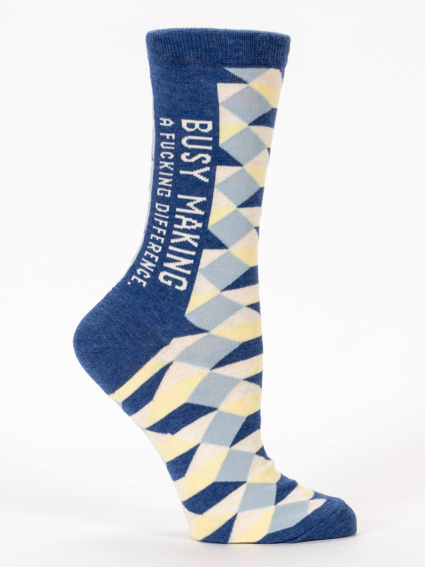 Blue Q Busy Making A Fucking Difference Crew Socks