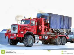 100 Halliburton Trucks NOVYY URENGOY RUSSIA FEBRUARY 24 2013 Red Kenworth T800 Truck