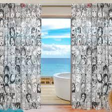 100 Sexy Living Rooms Amazoncom KALAZANA Ahegeo Sheer Window Curtains Voile Panels