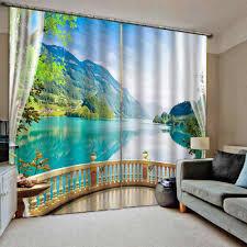 balkon grün vorhang büro schlafzimmer 3d fenster vorhang luxus wohnzimmer natur landschaft landschaft vorhänge