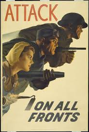 Colour Poster With Illustration Of A Male Soldier And Factory Worker Female Farm