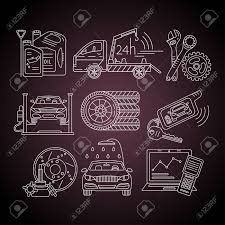 Vector Thin Line Pictogram Symbols Of Car Service - Tire Service ...