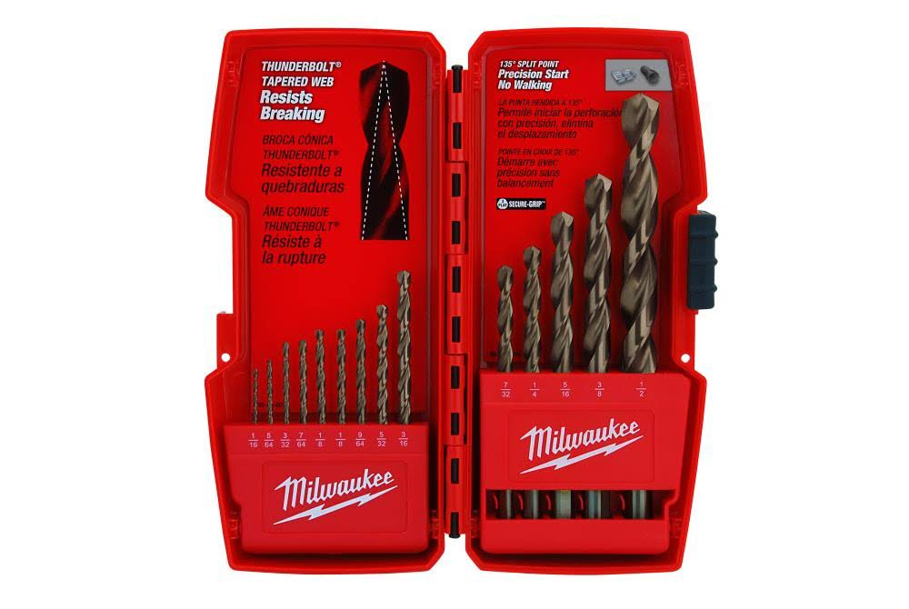 Milwaukee Thunderbolt Cobalt Drill Bit Kit - 14 Pieces