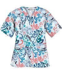 Ceil Blue Print Scrub Jackets by Ua Romantic Scroll Royal 4 Pocket Print Scrub Top Style Ua864rsr