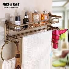 bad antiken messing badezimmer regal mit haar regal handtuchhalter bad regal mit haken korb für bad halter