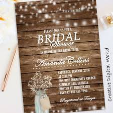 Rustic Bridal Shower Invitation Printable String Lights Games Babys Breath Flowers Mason Jar