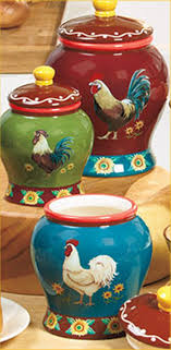 Set Of 3 Roosters Sunflowers Kitchen Canisters Colorful Decor