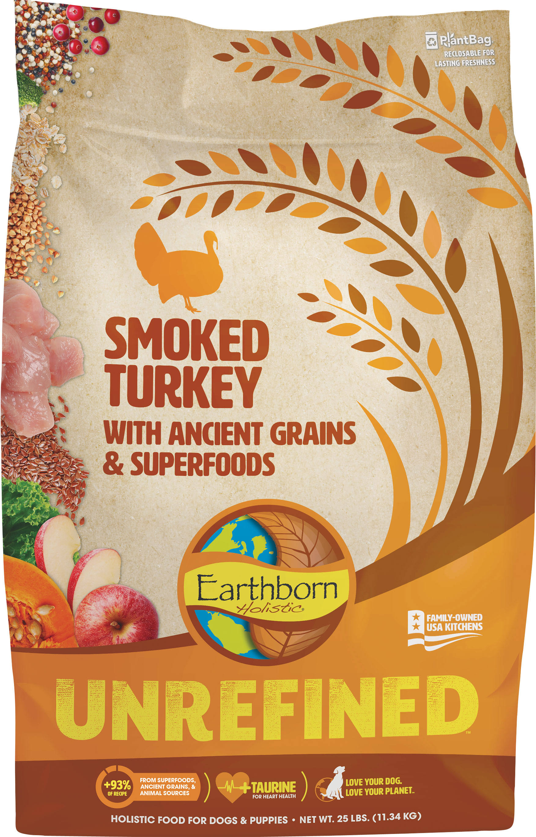 Earthborn Holistic Unrefined Smoked Turkey with Ancient Grains & Superfoods Dry Dog Food, 25-lb