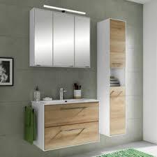 details zu badmöbel set waschtisch led spiegelschrank hochschrank eiche weiß badezimmer
