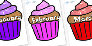 Months of the Year on Cupcakes Months of the Year Months poster Months