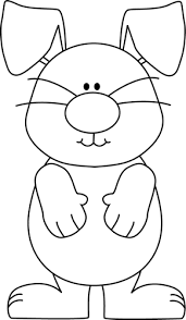 Black and White Bunny with Floppy Ears Clip Art Black and White Bunny with Floppy Ears Image