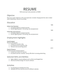 First Resume Examples Basic With No Work Experience