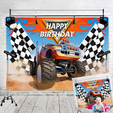100 Monster Truck Decorations Theme Happy Birthday Party Photography Backdrops Decor Grave Digger Racing Car Photo Background Vinyl 7x5ft