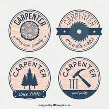 Badges For Carpentry With Wood Effect