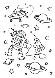 Free Printable Space Coloring Pages Outer Alien Spacecraft